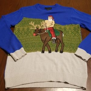 Shirtless Santa riding Rudolph ugly sweater h305